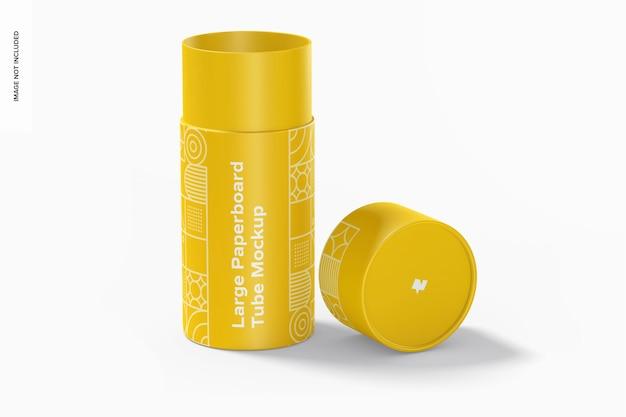 Maquete de tubo de papelão grande, aberto Psd Premium