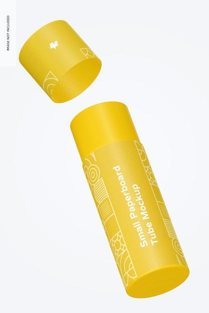 Maquete de tubo de papelão pequeno, flutuante Psd Premium