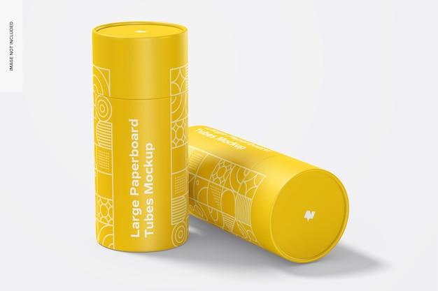Maquete de tubos de papelão grandes, em pé e caídos Psd Premium