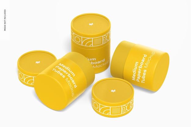 Maquete de tubos de papelão médio, abertos e fechados Psd Premium