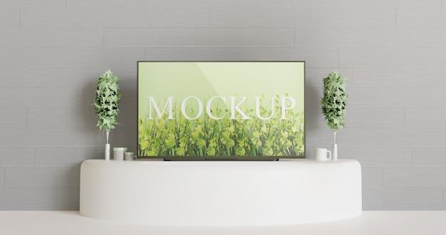 Maquete de tv na mesa branca Psd Premium