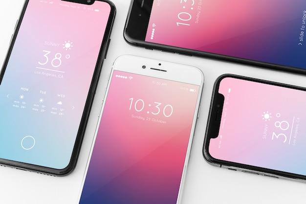 Maquete de vários smartphones Psd grátis