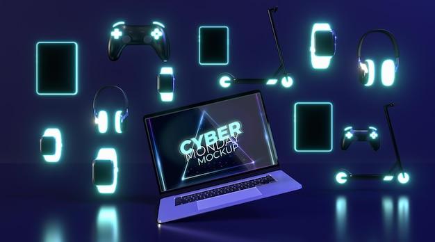 Maquete de venda da cyber segunda-feira com diferentes dispositivos Psd grátis