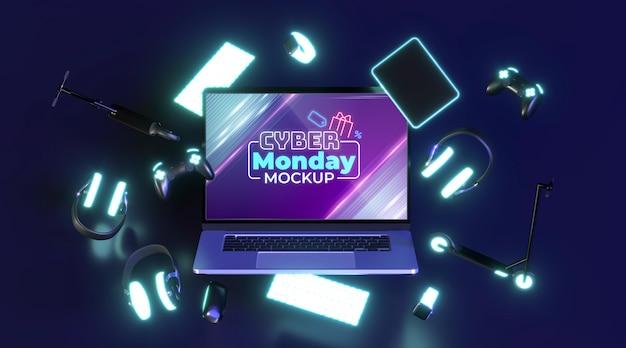 Maquete de venda da cyber segunda-feira com laptop Psd grátis