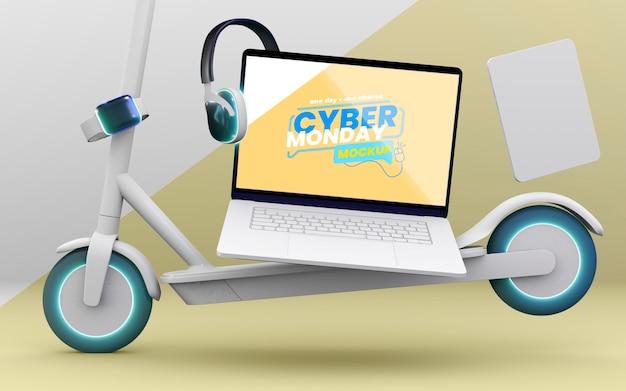 Maquete de venda de laptop da cyber monday com composição de dispositivos Psd grátis