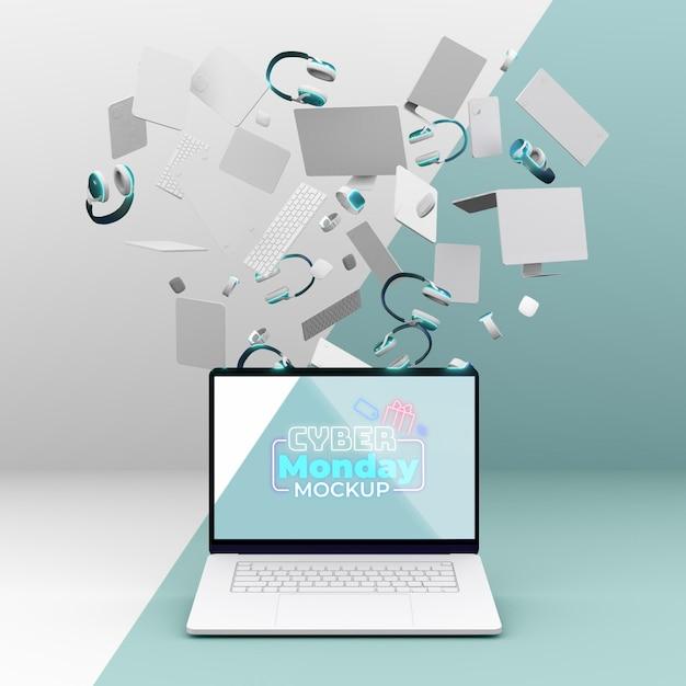 Maquete de venda de laptop da cyber monday com vários dispositivos Psd grátis