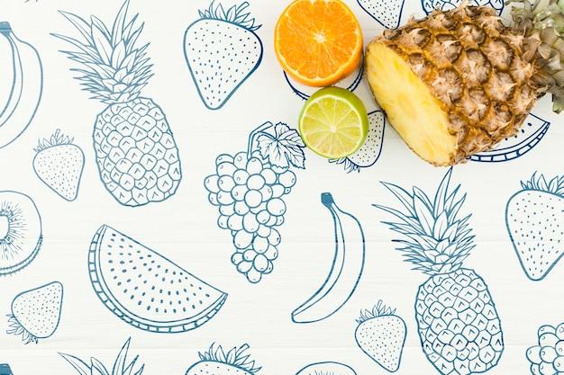 Maquete de verão plana leigos com copyspace e frutas Psd grátis
