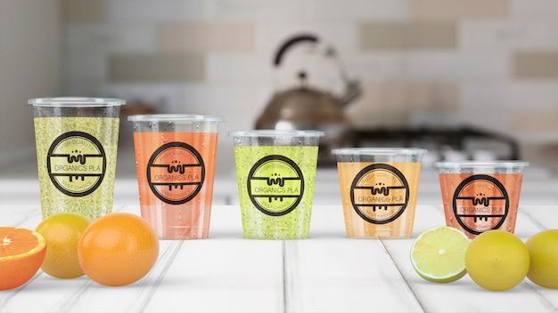 Maquete de vidro smoothie transparente Psd grátis