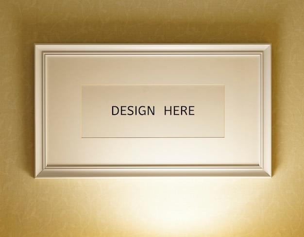 Maquete design aqui sinal moldura de madeira velha e foto de textura de parede Psd Premium