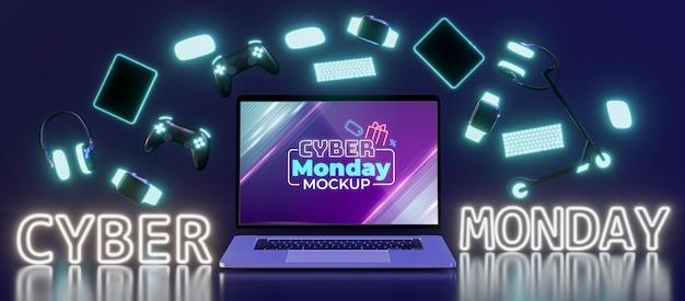 Maquete do arranjo de venda da cyber monday Psd grátis
