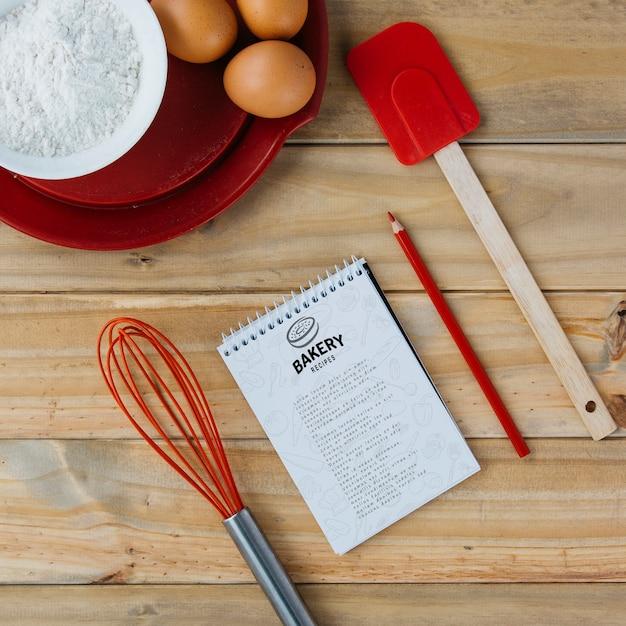 Maquete do bloco de notas com conceito de cozinha e receita Psd grátis