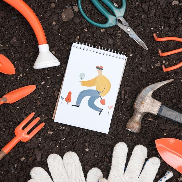 Maquete do bloco de notas com conceito de jardinagem Psd grátis