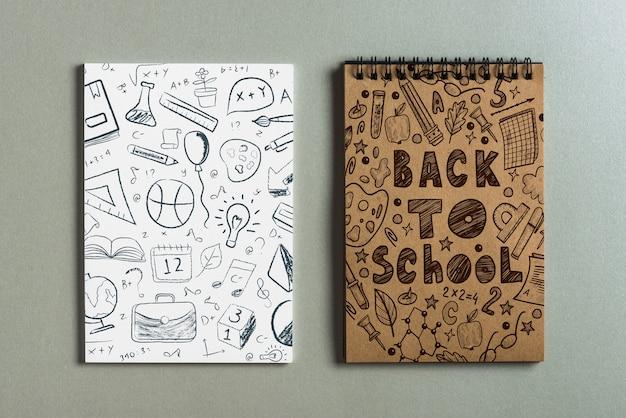 Maquete do bloco de notas com volta ao conceito de escola Psd grátis