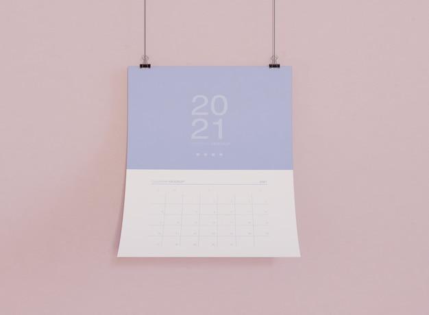 Maquete do calendário na parede Psd grátis