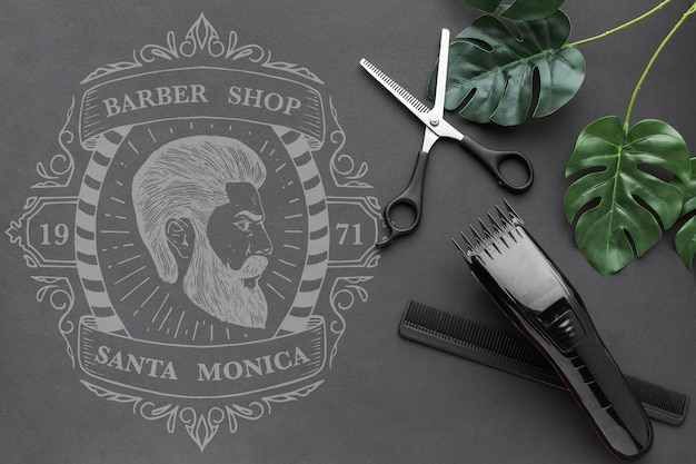 Maquete do conceito de barbearia Psd Premium