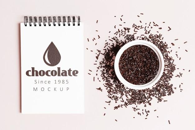 Maquete do conceito de chocolate delicioso Psd grátis