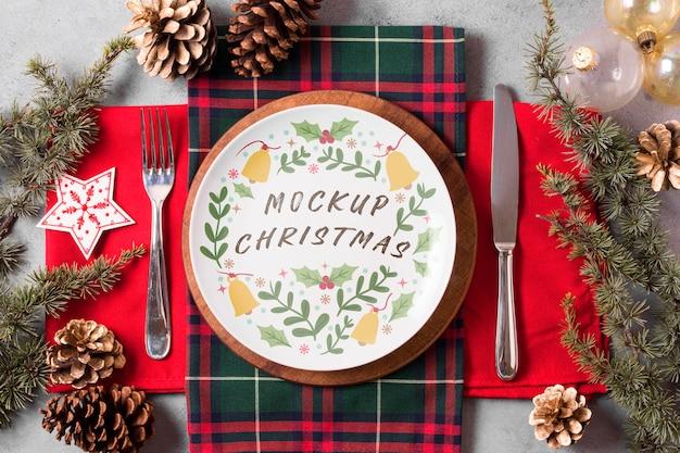 Maquete do conceito de comida de natal Psd grátis