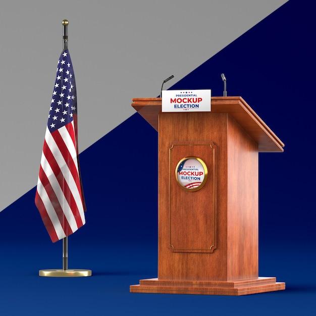 Maquete do conceito de eleições americanas Psd Premium