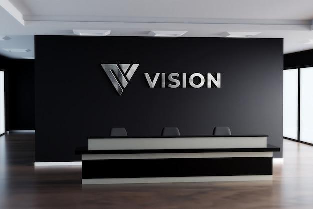 Maquete do logotipo 3d sinal realista office black wall Psd Premium