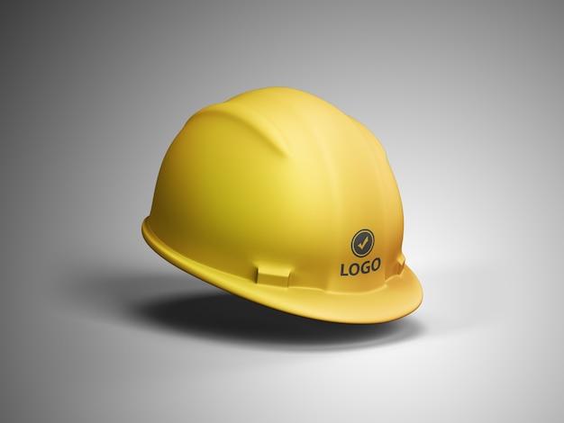 Maquete do logotipo do capacete de construção Psd Premium