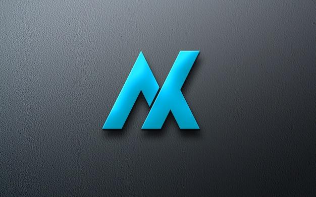 Maquete do logotipo metálico azul fotorrealista Psd Premium