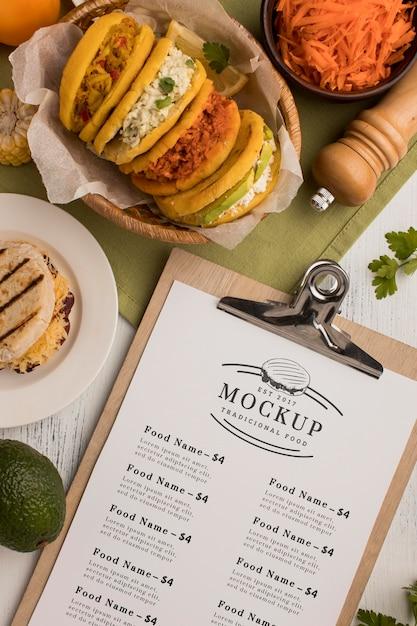 Maquete do menu do restaurante e comida Psd grátis