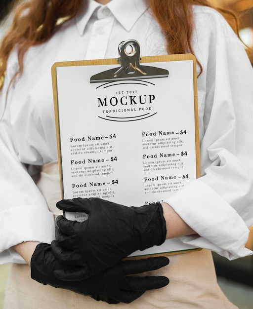 Maquete do menu do restaurante na área de transferência Psd grátis
