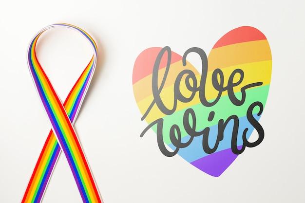 Maquete do orgulho gay com fita Psd grátis