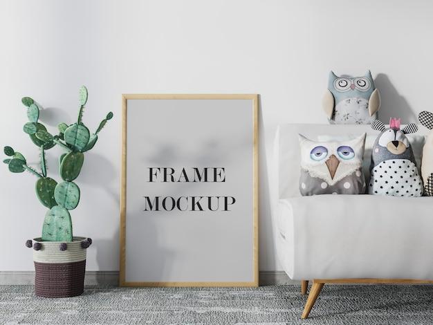 Maquete do porta-retrato ao lado do desenho do cacto Psd Premium