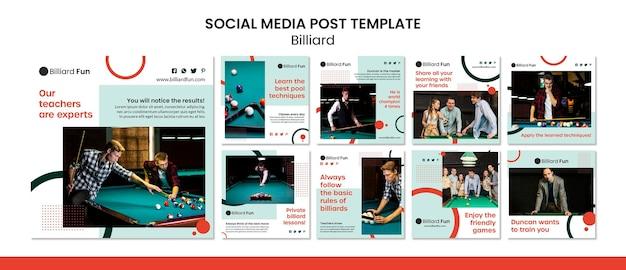 Maquete do post das redes sociais do conceito de bilhar Psd Premium