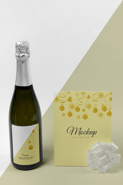 Maquete e fita da garrafa de champanhe com vista frontal Psd Premium