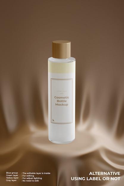Maquete elegante de frasco de vidro cosmético no pódio de seda Psd Premium