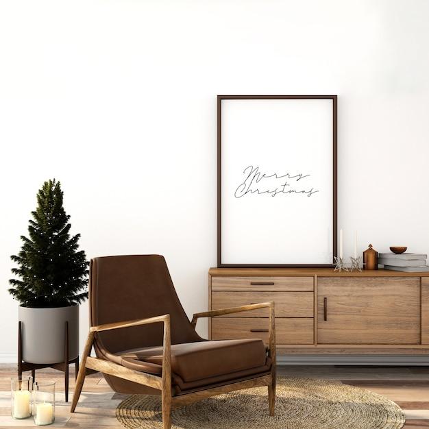Maquete escandinava de design de interiores de sala de estar com árvore de natal Psd Premium