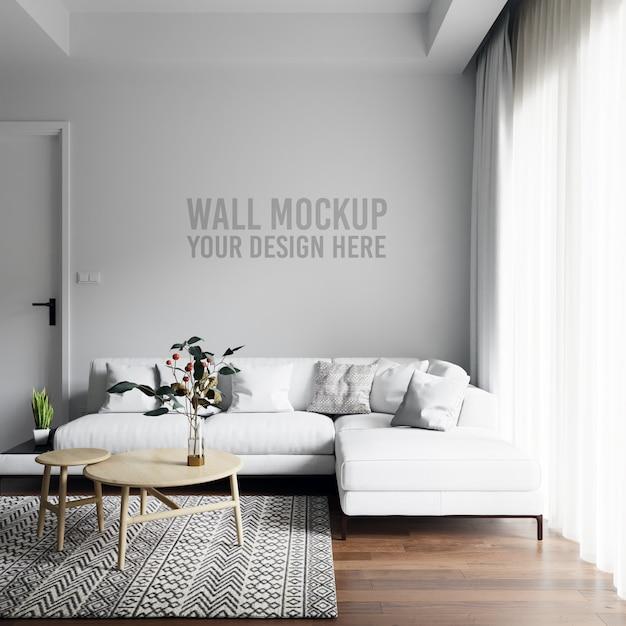 Maquete interior sala parede fundo Psd Premium