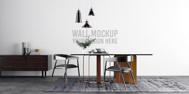 Maquete minimalista da parede da sala de jantar Psd Premium