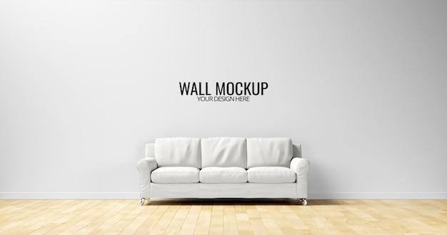 Maquete minimalista da parede interior com sofá branco Psd Premium