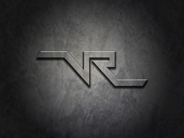 Maquete para o logotipo na textura de metal Psd Premium