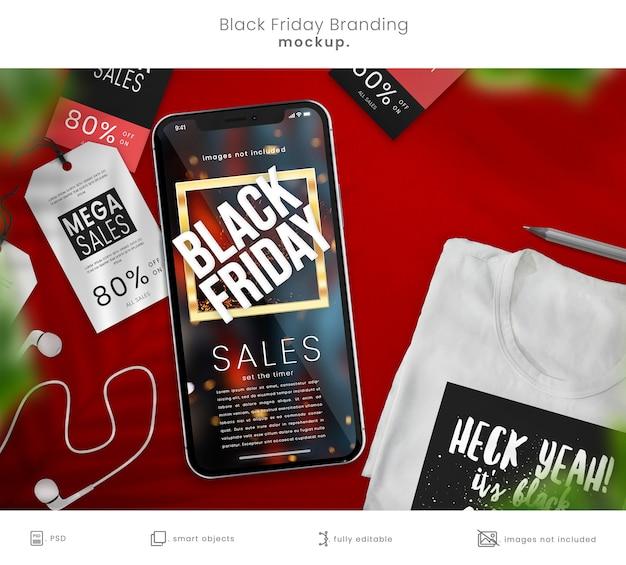 Maquete para smartphone e maquete de camiseta para a black friday Psd Premium