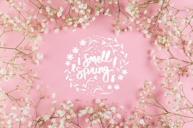 Maquete plana de primavera com copyspace e quadro Psd grátis