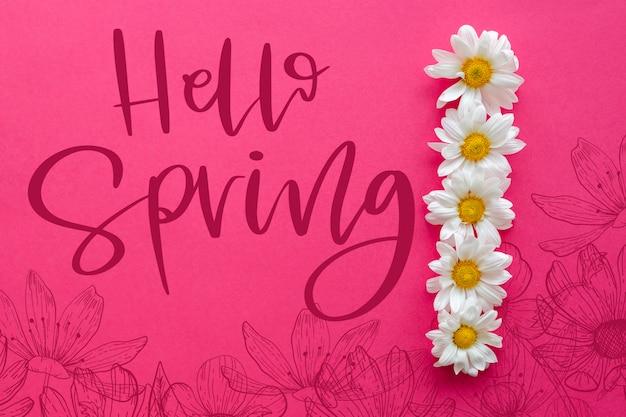 Maquete plana de primavera com copyspace Psd grátis