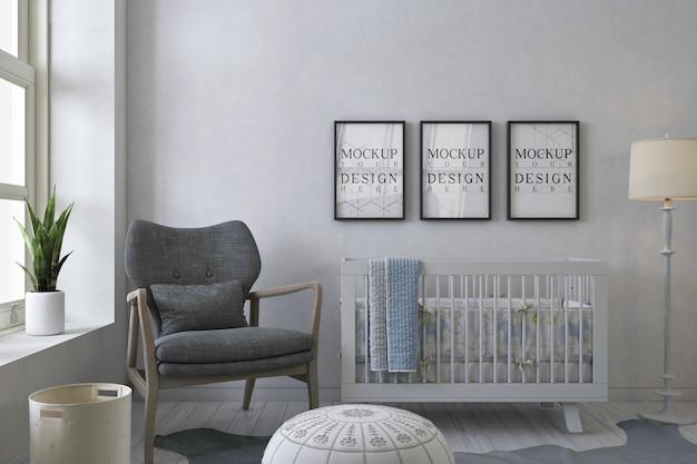 Maquete porta-retratos no quarto do bebê branco com poltrona cinza Psd Premium