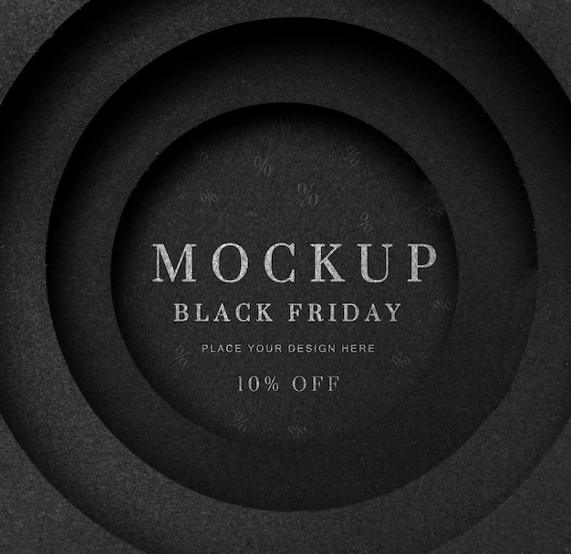 Maquete preta circular de sexta feira preta Psd Premium