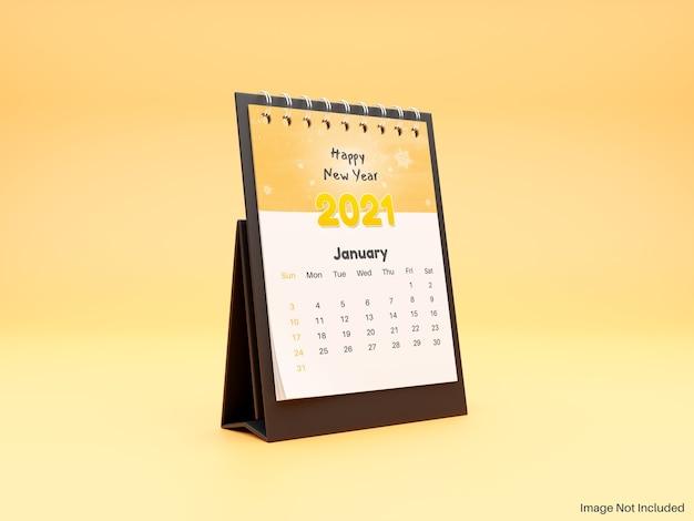 Maquete realista de calendário de mesa em espiral em pé Psd Premium