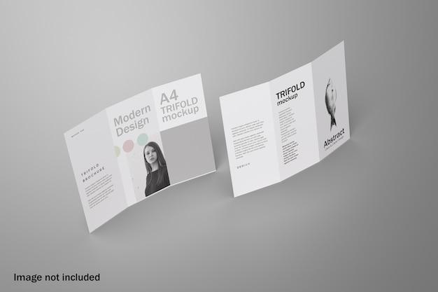 Maquete realista de folheto com três dobras Psd Premium