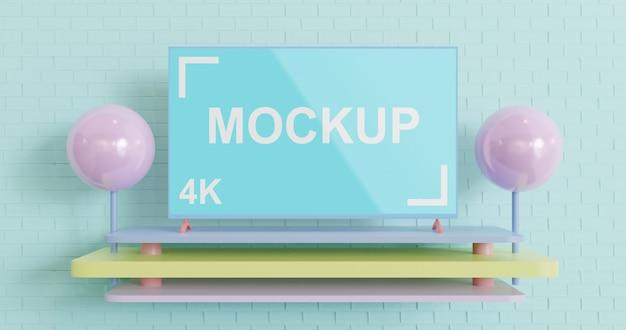 Maquete simples tv cor pastel Psd Premium