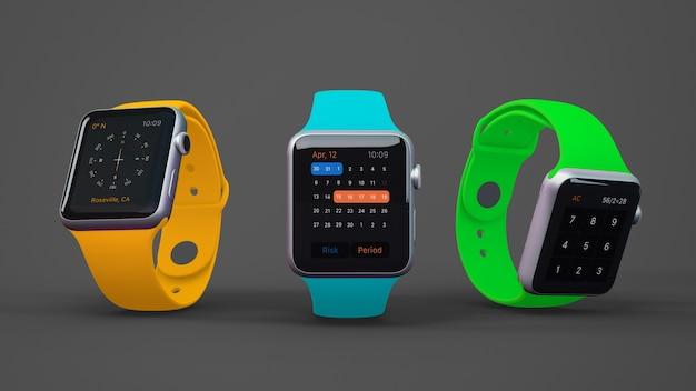 Maquete smartwatch de três Psd grátis