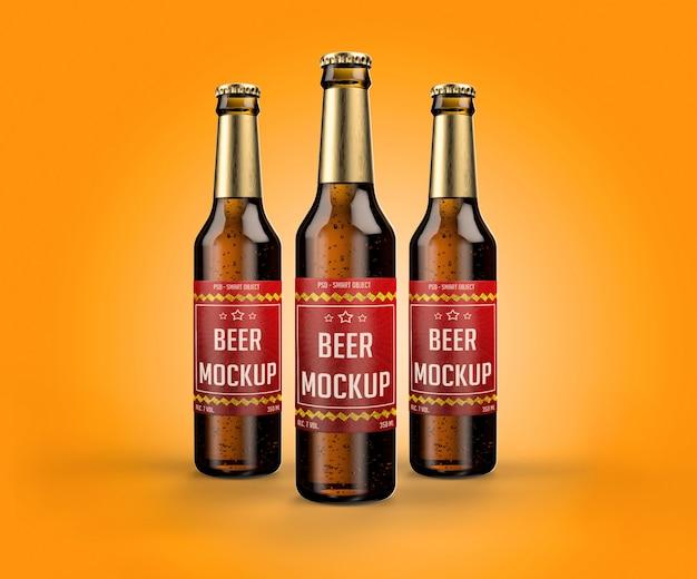 Maquetes de garrafas de cerveja realistas e rótulos para design Psd Premium