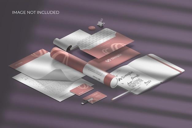 Marca de papelaria isométrica - criador de cena de maquete Psd grátis