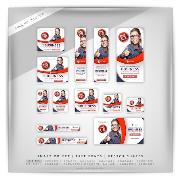 Marketing de negócios limpo google e anúncios do facebook Psd Premium