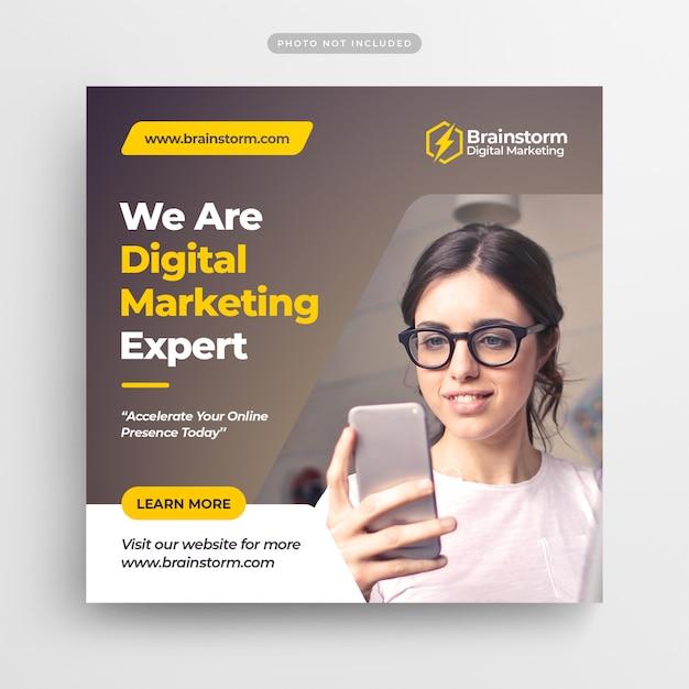Marketing digital de negócios mídias sociais post banner & square flyer Psd Premium